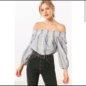 BDG Urban Outfitters Blue & White Striped Top